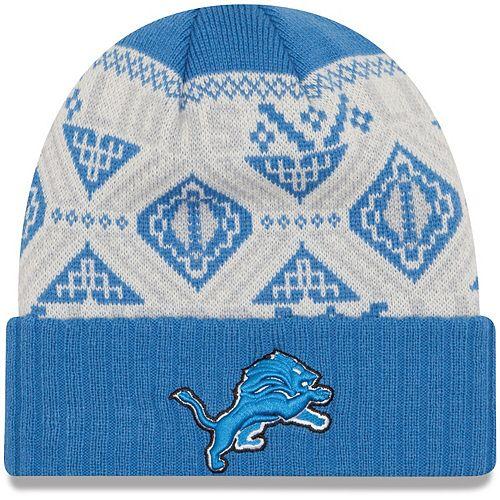 Youth New Era Blue Detroit Lions Cozy Cuffed Knit Hat