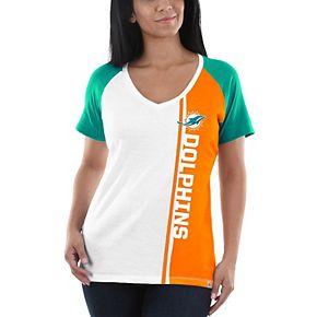 Women's Majestic White/Aqua Miami Dolphins The Highlight V-Neck T-Shirt