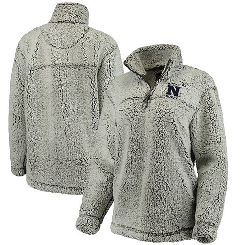 Women's Gray Navy Midshipmen Sherpa Super Soft Quarter-Zip Pullover Jacket