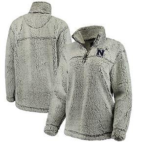 Women's Gray Navy Midshipmen Sherpa Super Soft Quarter-Zip Pullover Jacket
