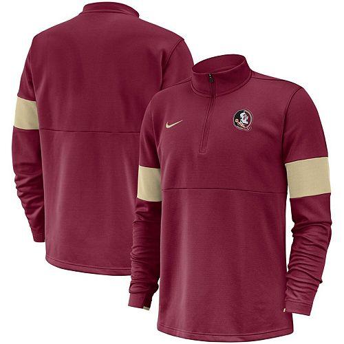 Men's Nike Garnet Florida State Seminoles 2019 Coaches Sideline Performance Half-Zip Pullover Jacket