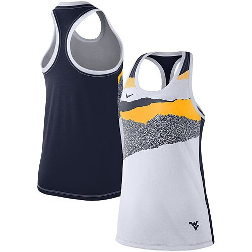 Women's Nike White West Virginia Mountaineers Mezzo Racerback Tri-Blend Performance Tank Top