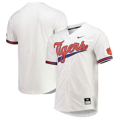 Men's Nike White Clemson Tigers Vapor Untouchable Elite Full-Button Replica Baseball Jersey