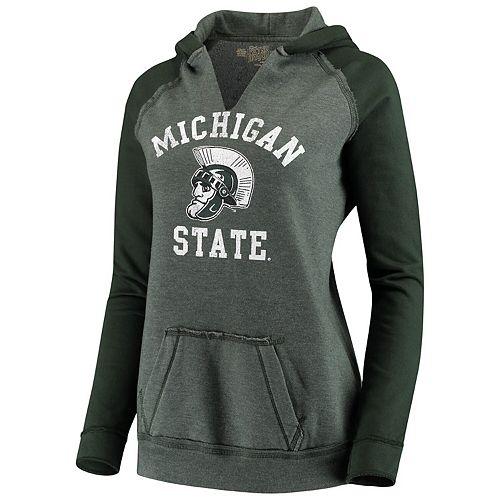Women's Original Retro Brand Green Michigan State Spartans Two-Toned 2.0 Raglan Pullover Hoodie