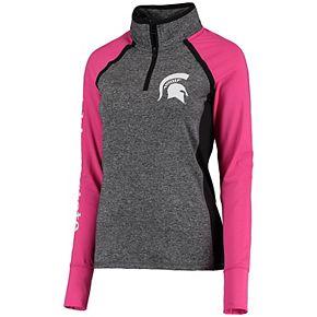 Women's Gray/Pink Michigan State Spartans Finalist Quarter-Zip Pullover Jacket