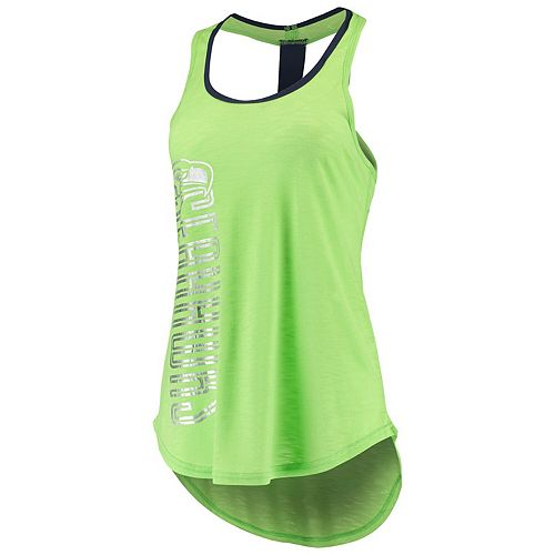 Women's G-III 4Her by Carl Banks Neon Green Seattle Seahawks Wildcat Racerback Tank Top