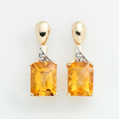 10k Gold Citrine and Diamond Accent Drop Earrings