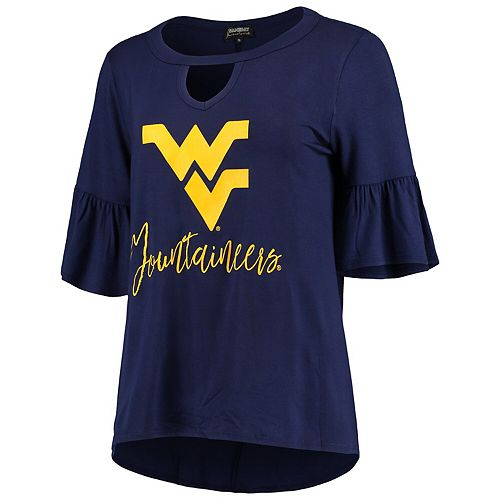 Women's Navy West Virginia Mountaineers Ruffle and Ready Keyhole Tri-Blend 3/4-Sleeve Top
