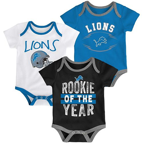 Infant Blue/Black/White Detroit Lions Kicking & Screaming Three-Piece Bodysuit Set
