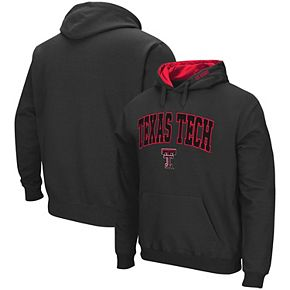 Men's Colosseum Charcoal Texas Tech Red Raiders Arch & Logo Tackle Twill Pullover Hoodie