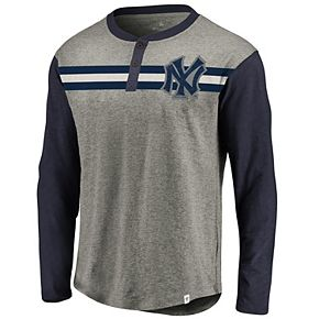 Men's Fanatics Branded Heathered Gray/Navy New York Yankees True Classics Stripe Henley Long Sleeve T-Shirt