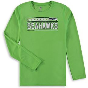 Youth Neon Green Seattle Seahawks Re-Generation Performance Long Sleeve T-Shirt