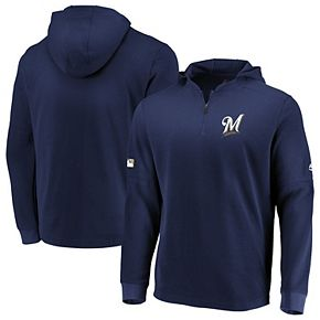 Men's Majestic Navy Milwaukee Brewers Authentic Collection Batting Practice Waffle Quarter-Zip Pullover Jacket