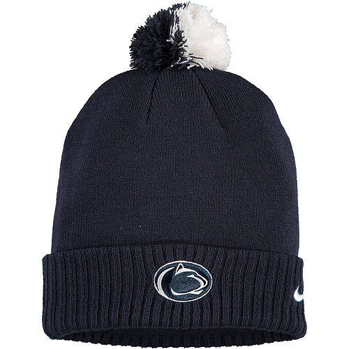 Youth Nike Navy Penn State Nittany Lions Sideline Pom Cuffed Knit Hat