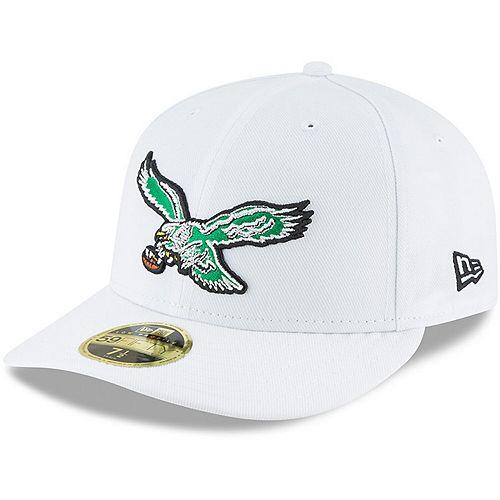 Men's New Era White Philadelphia Eagles Throwback Logo Omaha Low Profile 59FIFTY Fitted Hat