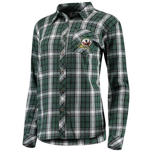 Women's Green Oregon Ducks Essential Flannel Button-Down Long Sleeve Shirt