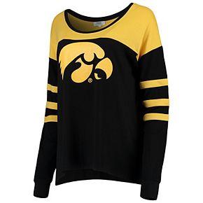 Women's Black/Gold Iowa Hawkeyes Piko Kalynn Sleeve Stripe Long Sleeve T-Shirt