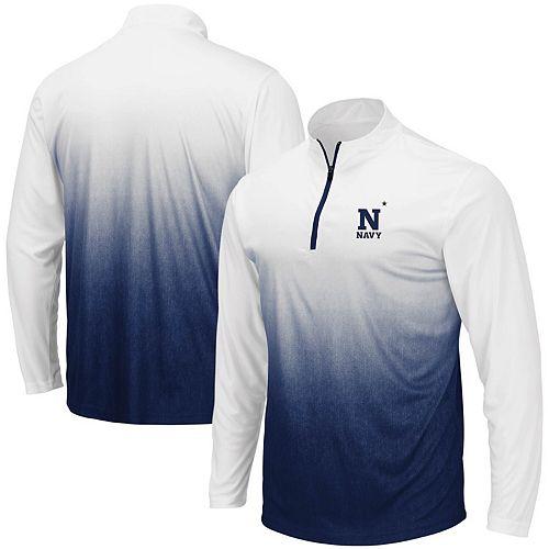Men's Colosseum Navy Navy Midshipmen Magic Team Logo Quarter-Zip Jacket