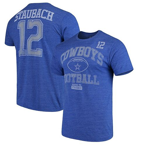 info for 51c13 4bfa8 Men's Roger Staubach Blue Dallas Cowboys Retired Chronicle Player Name &  Number Tri-Blend T-Shirt