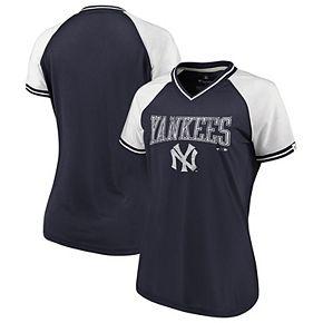 Women's Fanatics Branded Navy/White New York Yankees True Classics Raglan Stripe V-Neck T-Shirt