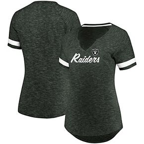 Women's Majestic Charcoal Oakland Raiders Through Thick or Thin V-Neck T-Shirt