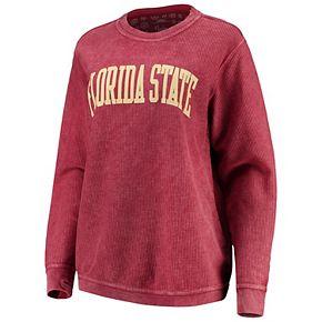 Women's Pressbox Garnet Florida State Seminoles Comfy Cord Vintage Wash Basic Arch Pullover Sweatshirt