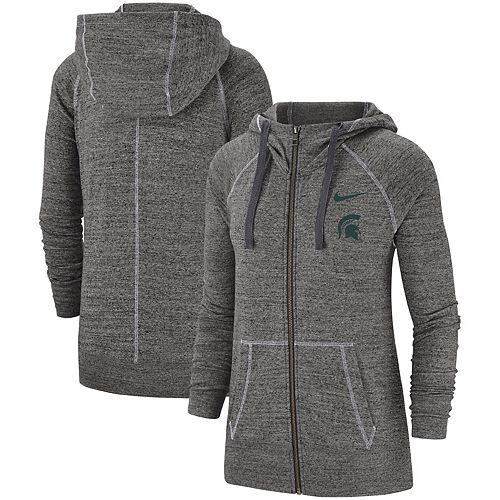 Women's Nike Heathered Gray Michigan State Spartans Color Trim Gym Vintage Full-Zip Hoodie