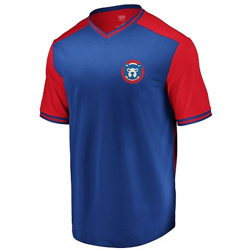 Men's Majestic Royal/Red Chicago Cubs Good Graces Cooperstown Collection V-Neck T-Shirt