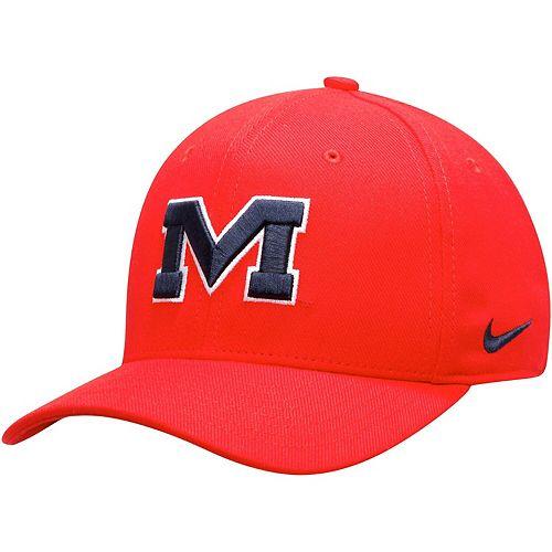 Men's Nike Red Ole Miss Rebels Team Classic Logo 99 Swoosh Performance Flex Hat