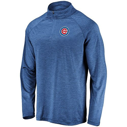Men's Majestic Royal Chicago Cubs Contenders Welcome Quarter-Zip Mock Neck Pullover Jacket