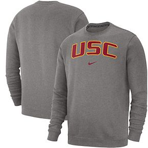 Men's Nike Heathered Gray USC Trojans Club Fleece Sweatshirt