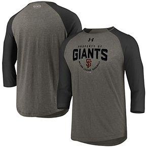 Men's Under Armour Gray/Black San Francisco Giants Tri-Blend Raglan 3/4-Sleeve Performance T-Shirt