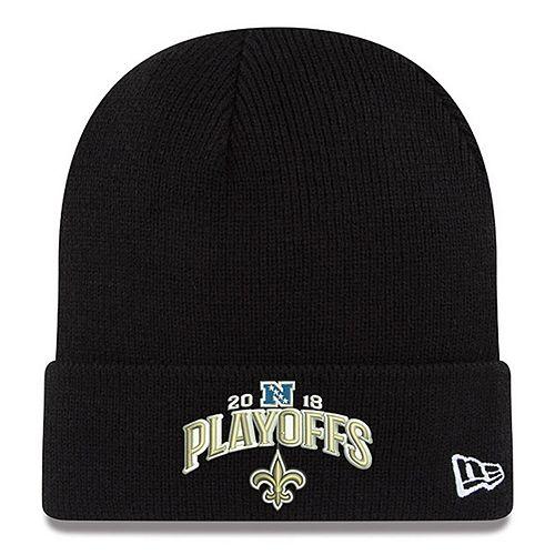 Men's New Era Black New Orleans Saints 2018 NFL Playoffs Bound Cuffed Knit Hat