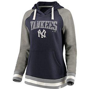 Women's Fanatics Branded Navy New York Yankees True Classics Stripe Pullover Hoodie