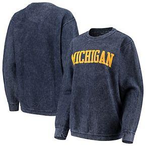 Women's Pressbox Navy Michigan Wolverines Comfy Cord Vintage Wash Basic Arch Pullover Sweatshirt