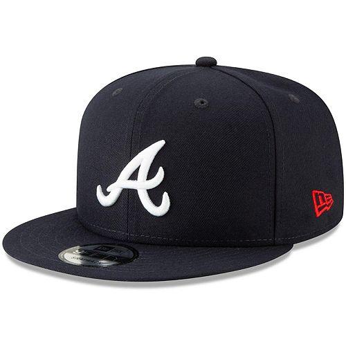 Men's New Era Navy Atlanta Braves Tag Turn 9FIFTY Adjustable Snapback Hat