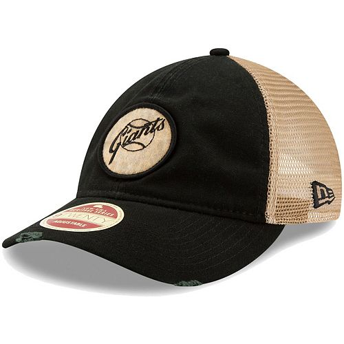 Men's New Era Black San Francisco Giants Cooperstown Collection Front Patched Trucker 9TWENTY Adjustable Hat