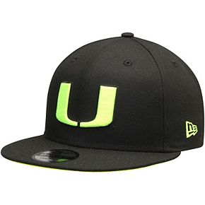 Men's New Era Black Miami Hurricanes Highlight Neon Pop 9FIFTY Adjustable Snapback Hat