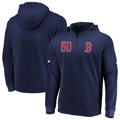 Men's Majestic Mookie Betts Navy Boston Red Sox Authentic Collection Batting Practice Waffle Quarter-Zip Hoodie