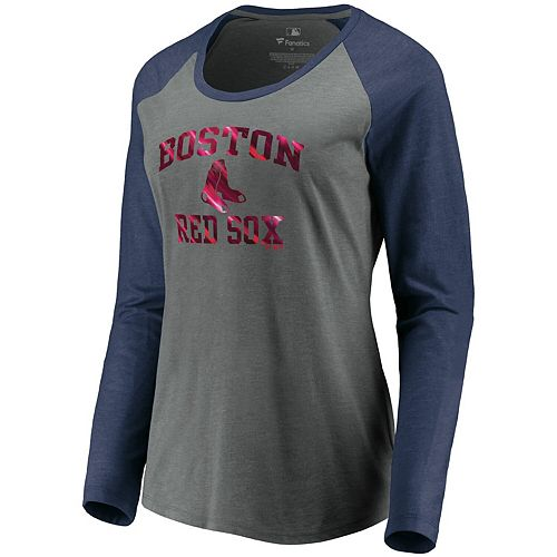 Women's Fanatics Branded Gray/Navy Boston Red Sox Tri-Blend Raglan Long Sleeve T-Shirt