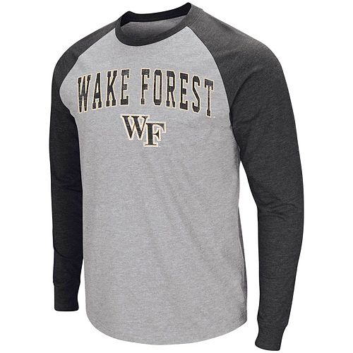 Men's Colosseum Heathered Gray Wake Forest Demon Deacons Olympus III Raglan Long Sleeve T-Shirt
