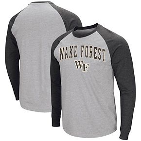 Men's Colosseum Heathered Gray Wake Forest Demon Deacons Olympus III Raglan Long Sleeve T-Shirt