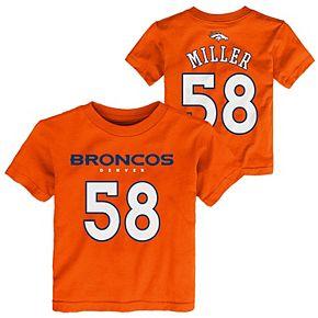 Preschool Von Miller Orange Denver Broncos Mainliner Name & Number T-Shirt