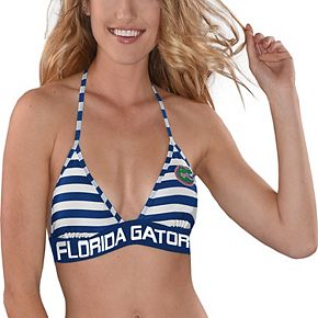 Women's G-III 4Her by Carl Banks Royal/White Florida Gators Strike Out Striped Bikini Top
