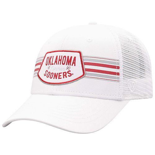 Men's Top of the World White Oklahoma Sooners Sunzy Trucker Snapback Adjustable Hat