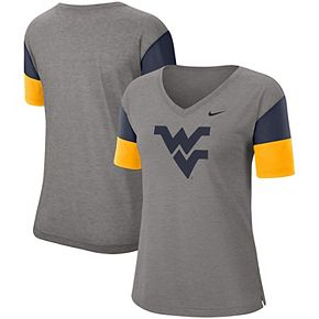 Women's Nike Heathered Gray/Navy West Virginia Mountaineers Breathe Team Sleeve Performance V-Neck T-Shirt
