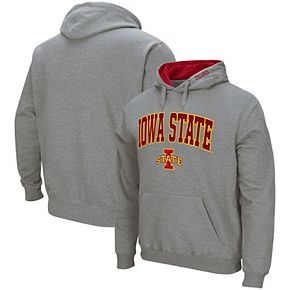 Men's Colosseum Heathered Gray Iowa State Cyclones Arch & Logo Pullover Hoodie