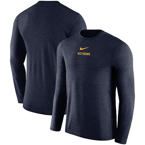 Men's Nike Navy West Virginia Mountaineers 2019 Coaches Sideline UV Performance Long Sleeve Top