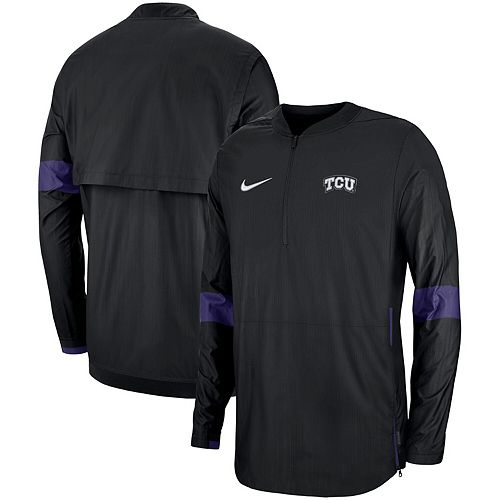 Men's Nike Black TCU Horned Frogs 2019 Coaches Sideline Quarter-Zip Jacket