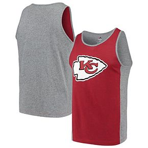Men's Majestic Red/Gray Kansas City Chiefs Iconic Shattered Record Tank Top